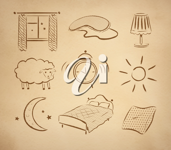 Bedtime hand drawn vector set on vintage old paper background.