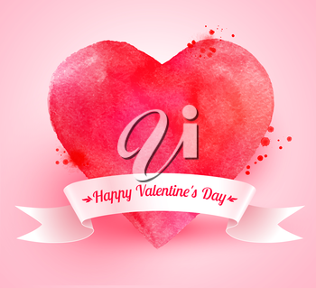 Watercolor Valentine heart with paint splashes and white paper ribbon banner on pink background.