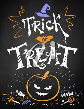 Color chalk drawn Trick or Treat Halloween poster with pumpkin and candies on blackboard background.