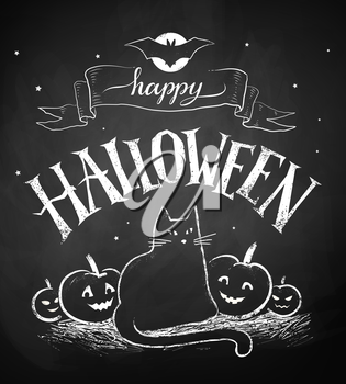 Vector chalk drawing of Happy Halloween postcard with black cat and pumpkins on chalkboard background.