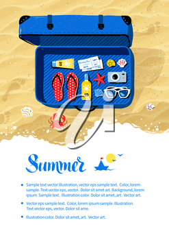 Summer vacation flyer design with top view travel suitcase with accessories on beach sand and sea surf background.
