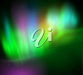 Vector illustration of northern lights background in green colors.