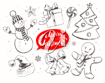 Christmas vintage line art vector set with festive objects and red lettering banner.