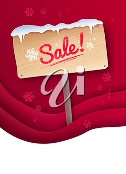 Vector cut paper art style illustration of Sale signboard with snow on red layered shapes background.