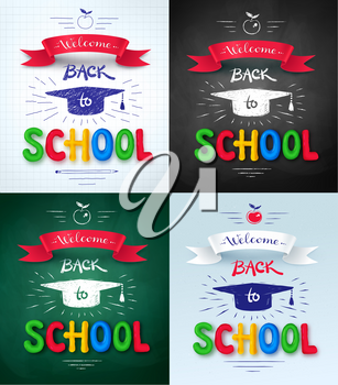 Vector collection of Welcome Back to School posters with mortarboard cap, ribbon banner and plasticine letters on chalkboard and notebook paper background.