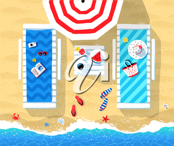 Summer vector illustration of sun beds, parasol and seaside accessories on beach sand background with sea surf.