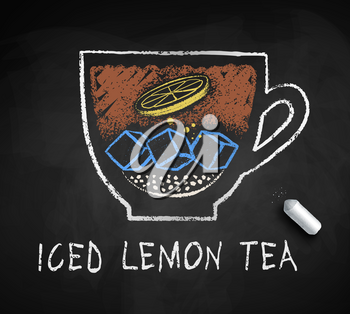 Vector sketch of Iced sweet Lemon Black Tea with piece of chalk on blackboard background.