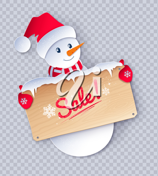 Vector paper cut style illustration of cute Snowman character with sale wooden signboard on transparency background.
