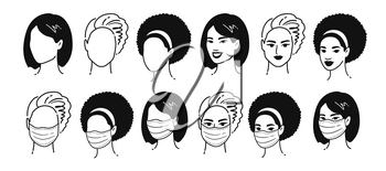 Quarantine collection. Vector black and white outline illustrations collection of female multiethnic portraits wearing protection medical masks isolated on white background.