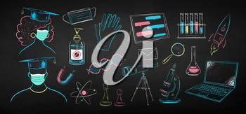 Vector color chalk drawn illustration set of new normal education objects and characters on black chalkboard background.