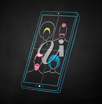 Vector color chalk drawn illustration of smartphone with live conference on black chalkboard background.