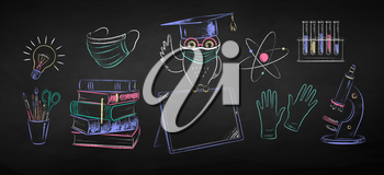 Vector color chalk drawn illustration collection of new normal education objects and owl sitting on digital tablet wearing face mask on black chalkboard background.