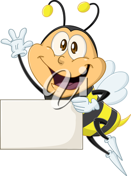 Vector illustration of a cute flying bee holds sign and waves