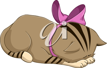 Vector illustration of a cute kitten bows in apology