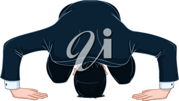 Vector illustration of a man in suit bows in apology