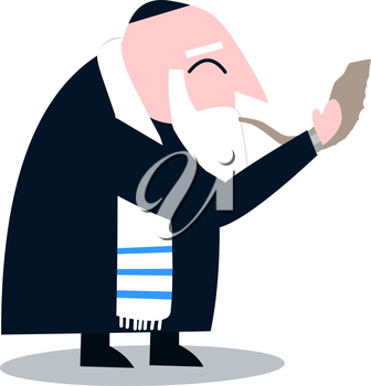 Vector illustration of a Rabbi with Talit blows the shofar the Jewish holiday Yom Kippur.