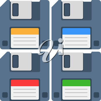 A vector illustration of an old computer floppy disk and colorful labels yellow blue red and green.