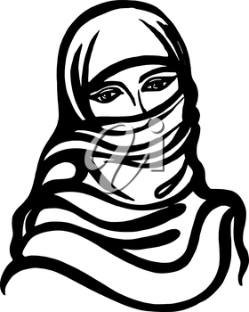 hand drawn, cartoon, sketch illustration of Muslim girl