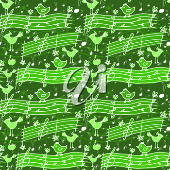 Vector graphic, artistic, stylized image of seamless pattern with musical notes and birdsong