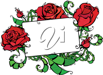 Illustration of roses and blank sign for your text. Isolated on white background for your Valentine's or wedding design.