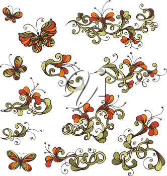Ornate flowers and butterflies on white background for your design.