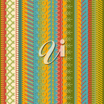 Vector high detailed stitches on textile background. Boundless background.