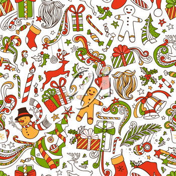 Seamless hand-drawn pattern. Christmas tree and baubles, Santa sock, Santa hat, Santa beard, mistletoe, gifts, candy canes, snowman, swirls, gingerbread man, deer, bells and ribbons, stars, cup, candl