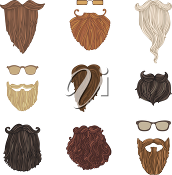 Hand-drawn vector blond, brunet, dark-haired, ginger and grey-haired beards isolated on white background.