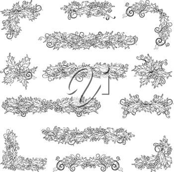 Vector outlined Christmas design elements isolated on white background. Can be used for your Christmas invitations or congratulations.