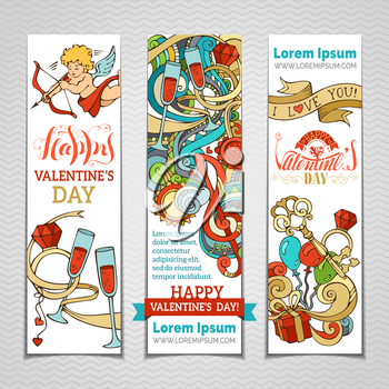 Set of vertical romantic banners. Cupid, hearts, gift, balloons, ribbon, ring, roses, glasses, music notes, hand-written lettering. Vector colourful web templates.