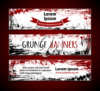 Red and black hand-drawn ink stains, flourishes and blots. There is place for your text on white area.