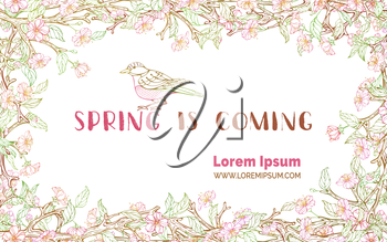 Spring flower contours on tree branches. Handwritten grunge brush lettering. Vector horizontal banner template. You can place your text in the center.