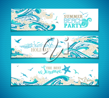 Paper ship, starfish, seagulls and waves. Summer beach party. Summer holidays. The best summer. Bright decorative illustration. There is place for your text.
