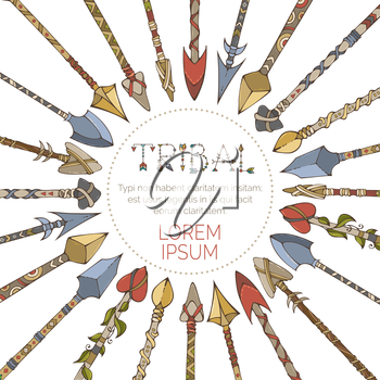 Hand-drawn tribal arrows arranged in a circle on white background. Boho style illustration.