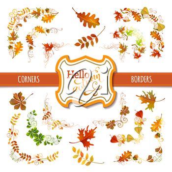 Vector corners, page decorations and dividers. Swirls and flourishes. Isolated on white background. Oak, maple, chestnut leaves and acorn. Badge and ribbon.
