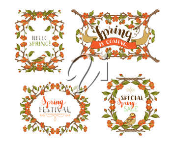 Frames of red flowers and leaves on tree branches. Handwritten grunge brush lettering. There is copyspace for your text in the center.