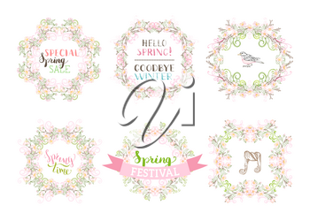 Linear spring flowers, leaves, branches, birds and flourishes. Coloured page decorations and ornaments isolated on white background.