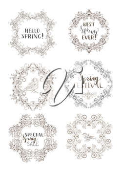 Outlined hand-drawn ornaments and flourishes, blossoms and leaves on branches. Seasonal card template. There is copyspace for your text.