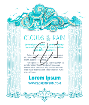 Frame of doodles cloud and hand-drawn rain on white background. Flying birds. There is copy space for your text in the center.