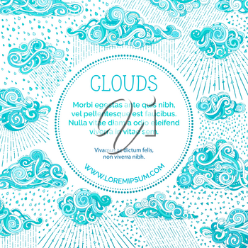 Various doodles clouds and rain on white background. Hand-drawn swirls, spirals, strokes, drops and curls. There is copy space for your text in round frame.
