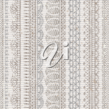 Sketch hand-drawn boundless background. Vertical knitted crochet texture, handmade lacy edgings on old striped background.