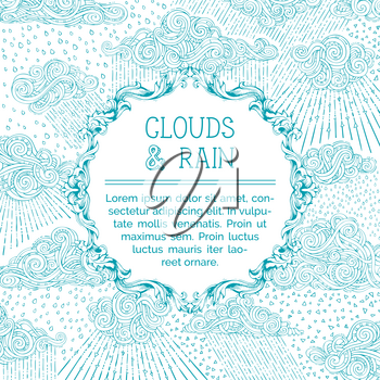 Doodles blue clouds and rain on white background. Hand-drawn decoration, swirls, spirals, drops and curls. There is copy space for your text in round frame.
