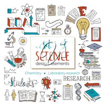Scene creator items. Chemistry and laboratory research symbols. Dna, molecules, books, test-tubes, microscope and others isolated on white background.