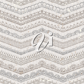 Ornate horizontal zigzag edging and border patterns on old striped background. Hand-drawn knitted ornate boundless texture.