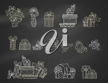 One, two and more presents. A heap of gift boxes. Hand-drawn linear icons.