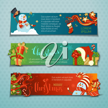 Cartoon snowmen and gift boxes, Christmas tree with baubles, candy canes, snowflakes and stars. Singing snowmen. Copy space for your text.