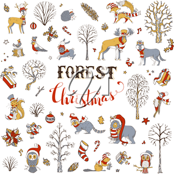 Winter trees and forest animals in Santa hat and scarf. Moose, bear, fox, wolf, deer, owl, hare, squirrel, raccoon, hedgehog, birds, gift boxes and Christmas baubles.