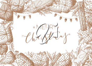 Sepia design template with hand-drawn stipple texture. Sketch mistletoe leaves and berries, gifts, garlands of lamps. There is copyspace for your text.