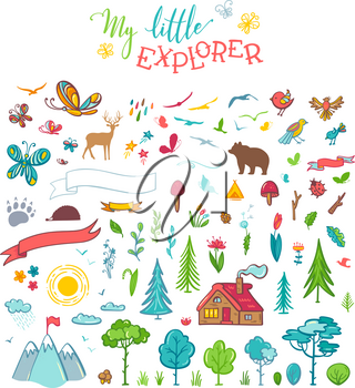Trees, bear, deer, mountains, clouds, butterflies, flowers, leaves, etc. Cartoon elements are perfect for invitation, poster, mug, bag, card or t-shirt design.