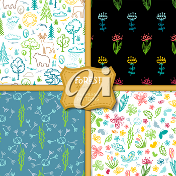 Linear trees and bushes, wild deer and bear, flowers and butterflies. Bright boundless backgrounds for your design.